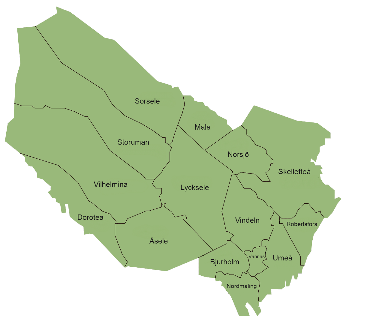 Karta över Västerbottens kommuner