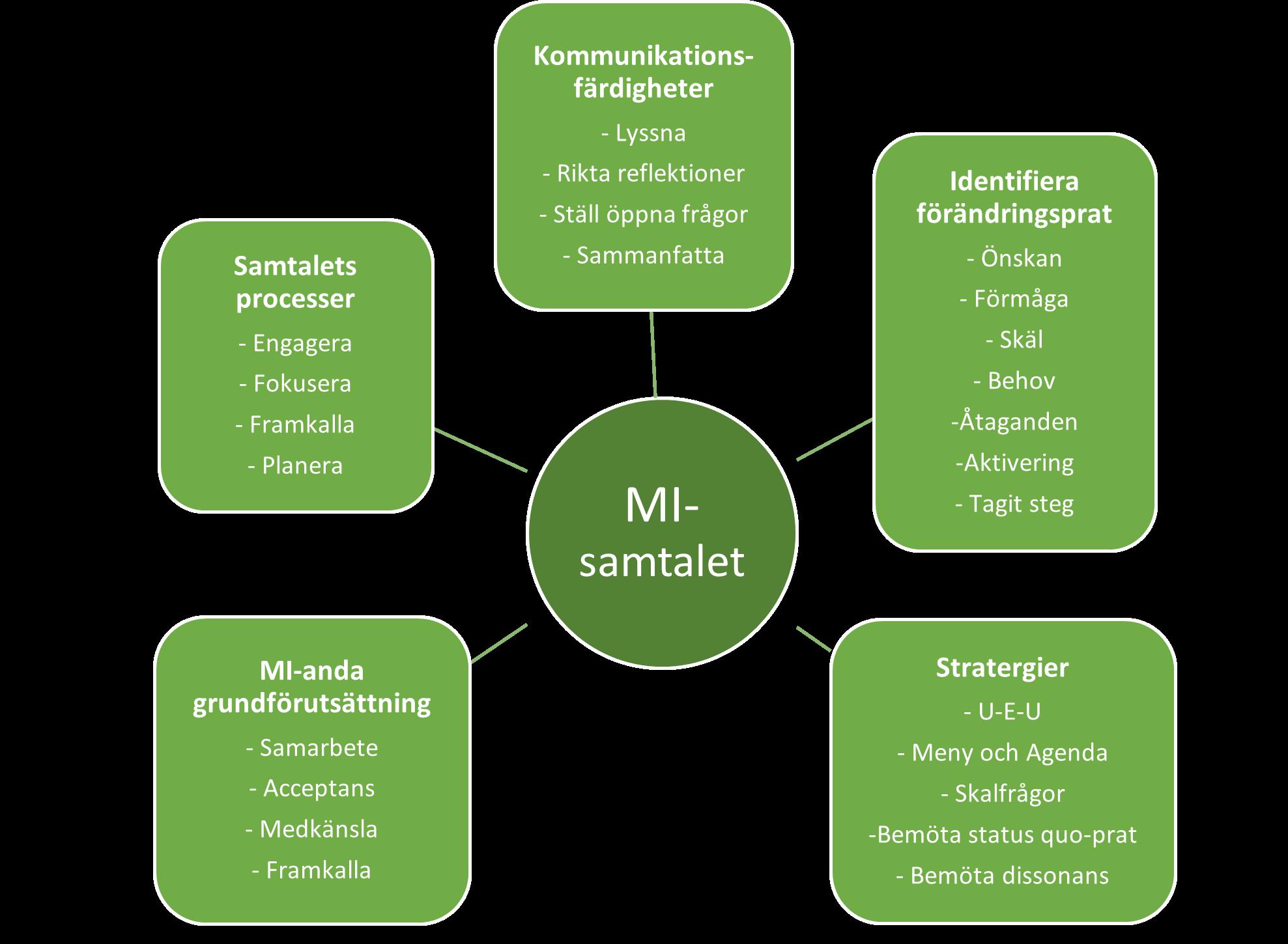 Figur som visar delarna i MI
